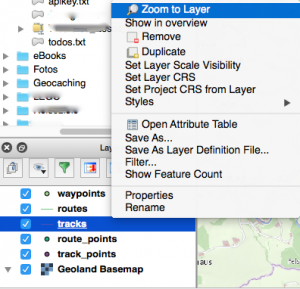 Zoom to layer to display map and track.