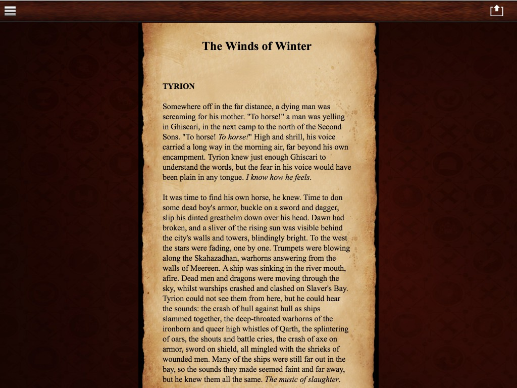 Beginning of the Tyrion chapter