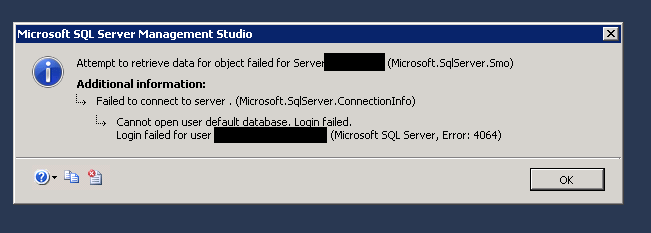 Can't connect to the default database.