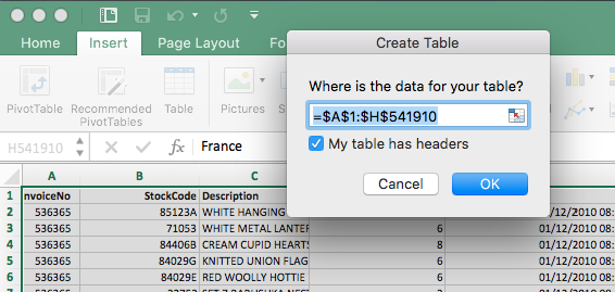 Create a table for the selected range.