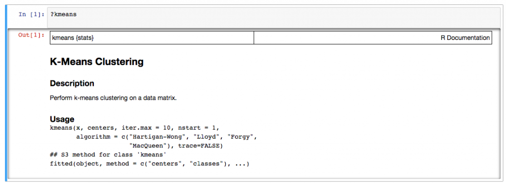 Using the R help in Jupyter.