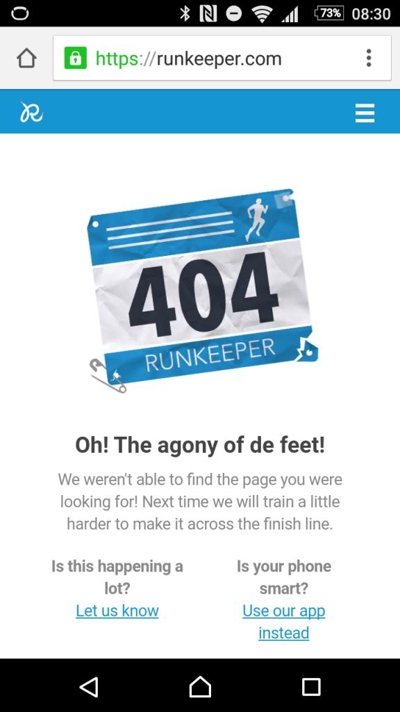 Jawbone/Runkeeper Fehlerseite
