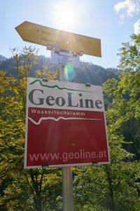 Schild mit GPS Koordinaten der Wasserlochklamm Palfau.