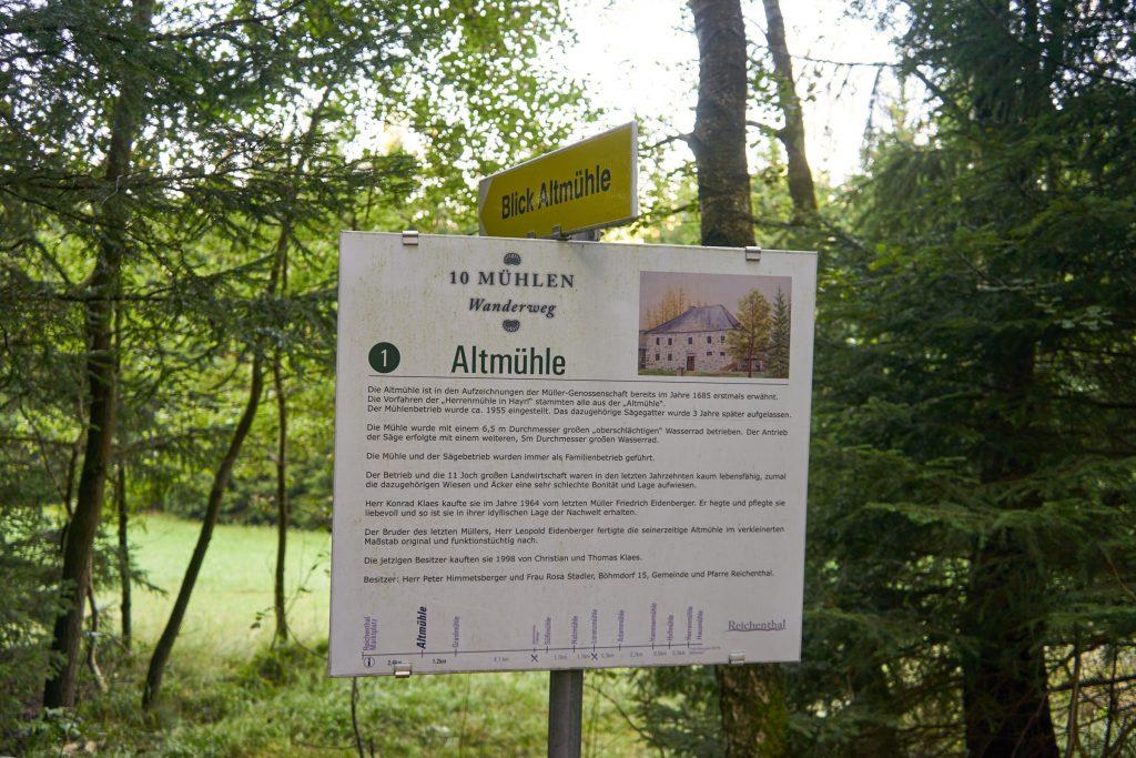 Beschilderung des 10-Mühlenwanderweg - Altmühle