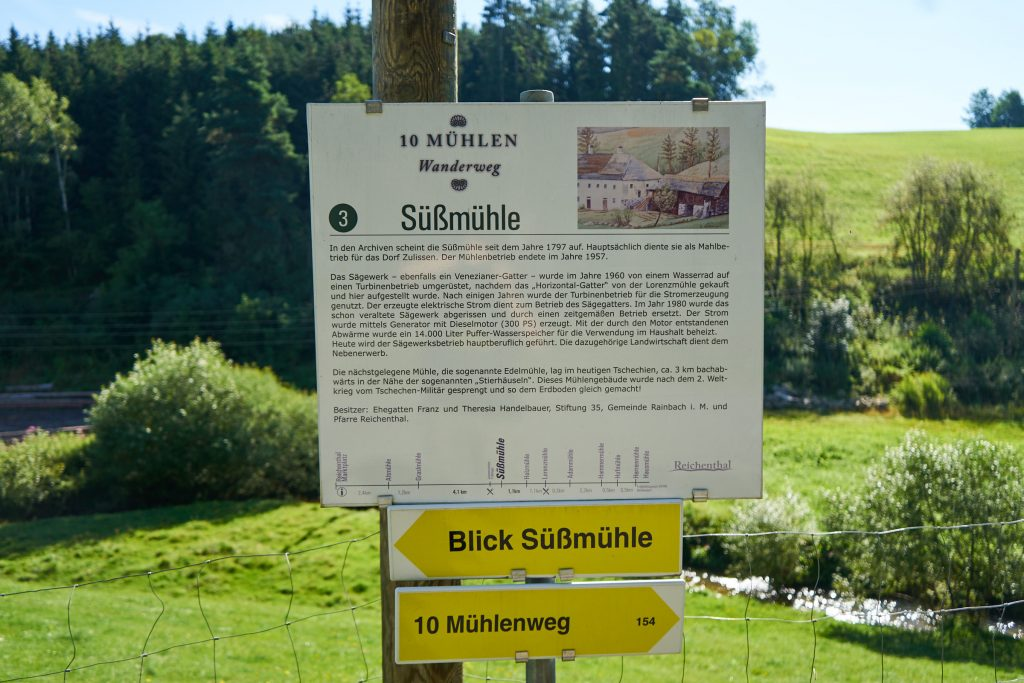 Beschilderung des 10-Mühlenwanderweg - Süßmühle