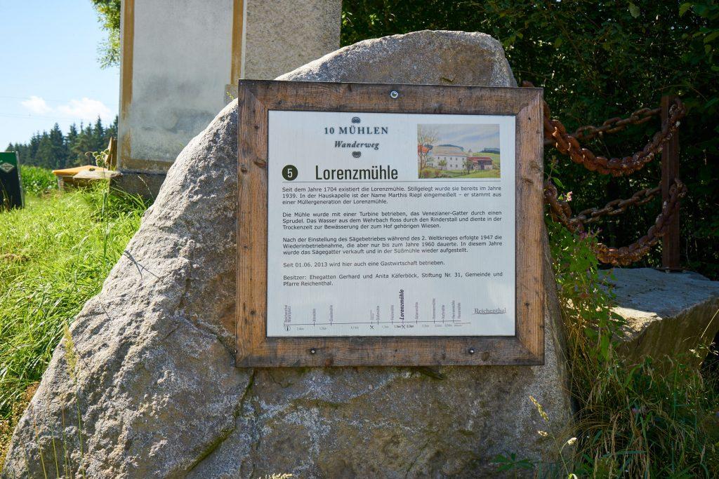 Beschilderung des 10-Mühlenwanderweg - Lorenzmühle