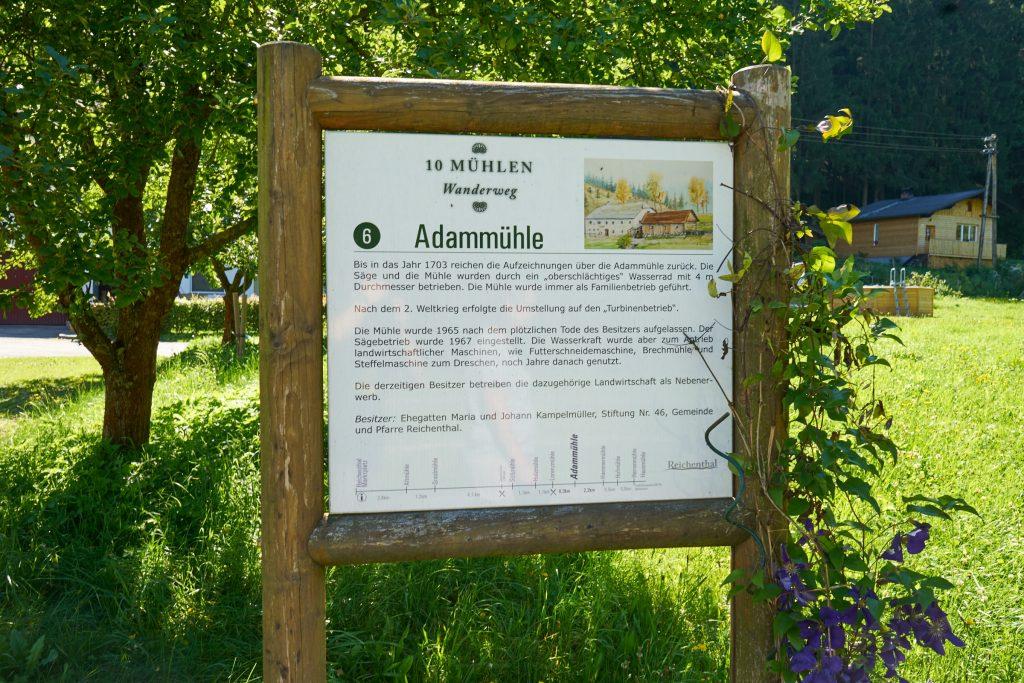 Beschilderung des 10-Mühlenwanderweg - Adammühle