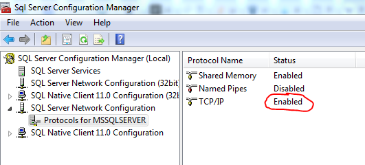 Screenshot of the SQL Server configuration manager.