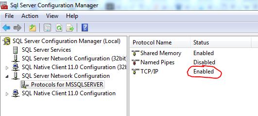 Screenshot of the SQL Server configuration manager.