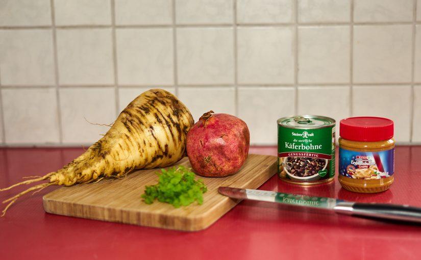 5 Zutaten Challenge: Bohnenburger mit Pastinaken-Granatapfel-Chutney