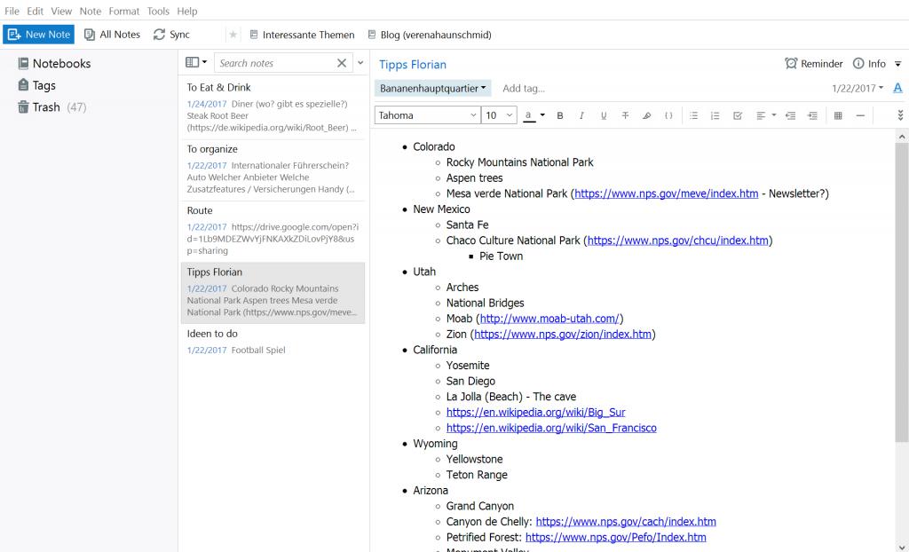 Screenshot von einer Notiz im Evernote.