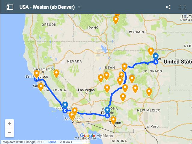 Eine mögliche Route für unsere USA Reise von Denver nach San Francisco.
