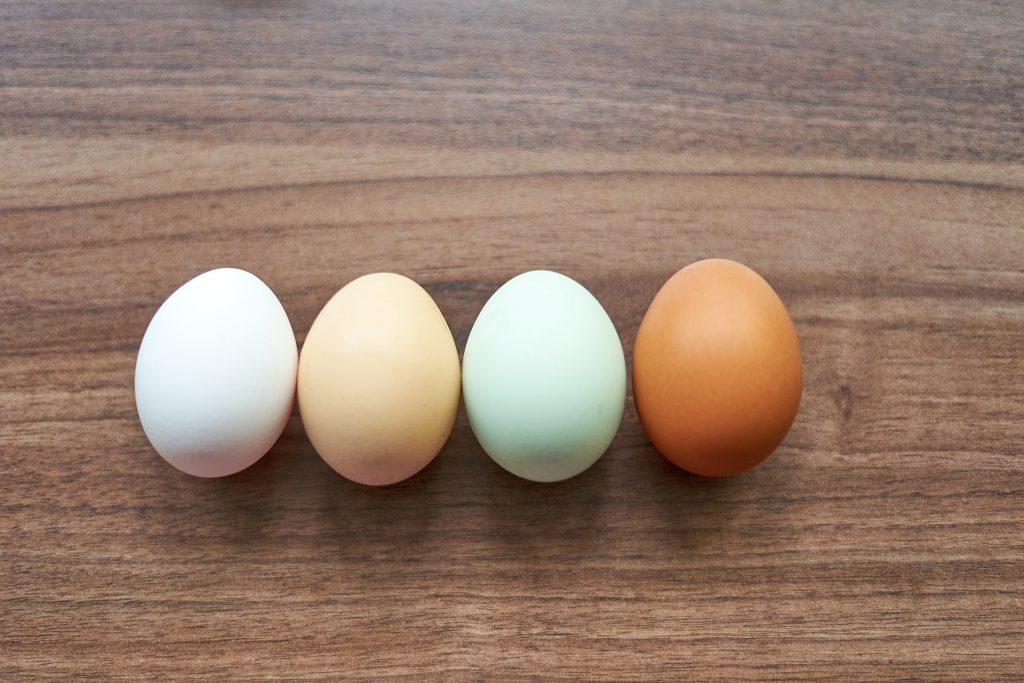 Hühnereier in verschiedenen Farbtönen (ungefärbt).