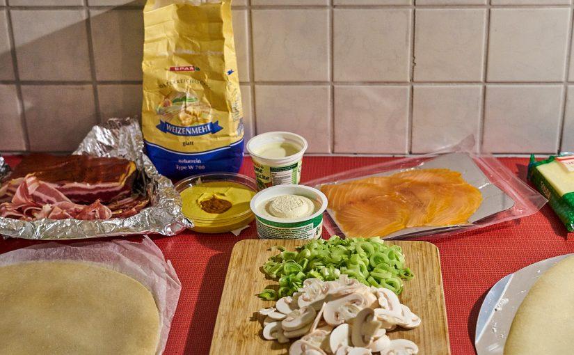 Flammkuchen Allerlei – Fleisch, Fisch und Veggie
