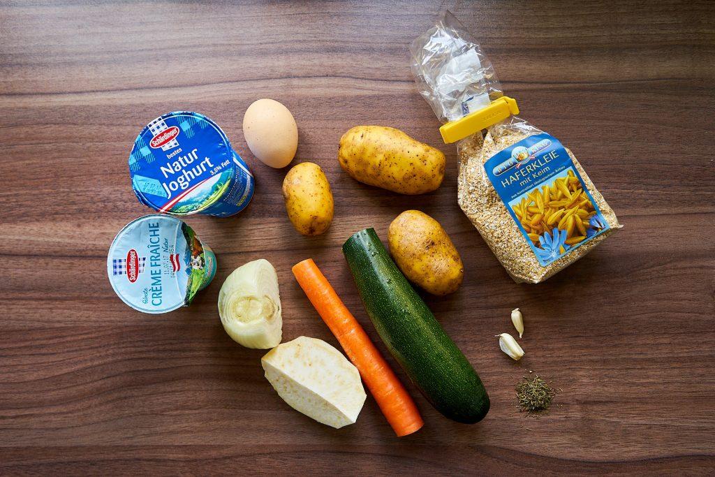 Zutaten für Gemüse-Rösti.