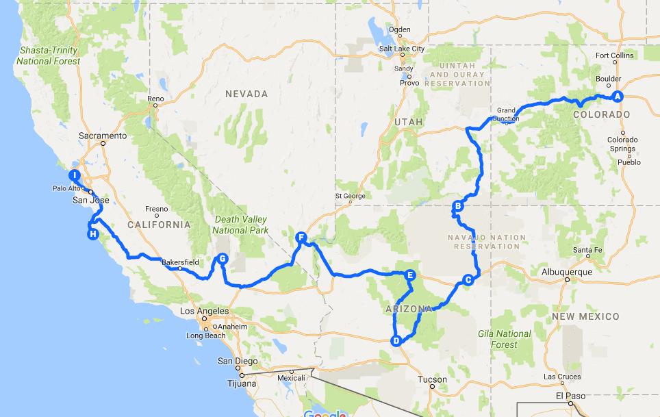 Screenshot unserer Westküsten-Route.